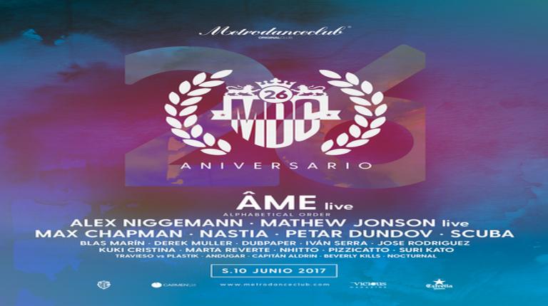 Sábado 10 de junio tendrá lugar la celebración del 26 ANIVERSARIO de Metro Dance Club