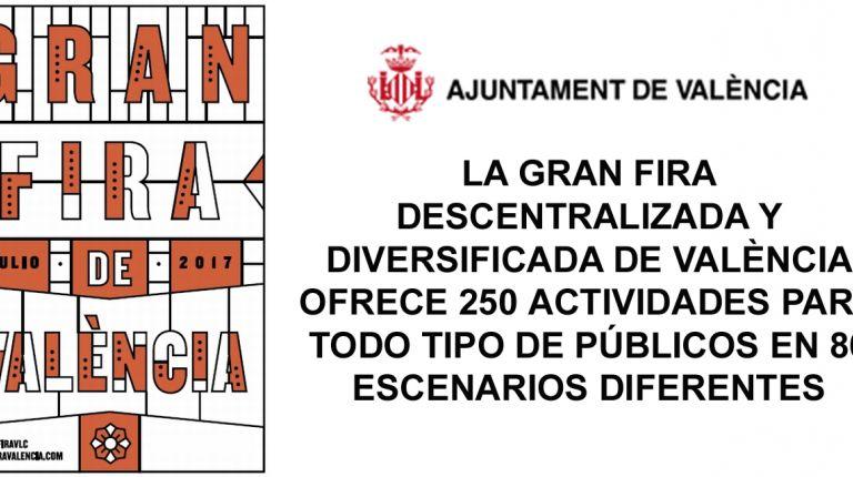 LA GRAN FIRA DESCENTRALIZADA Y DIVERSIFICADA DE VALÈNCIA OFRECE 250 ACTIVIDADES PARA TODO TIPO DE PÚBLICOS EN 86 ESCENARIOS DIFERENTES
